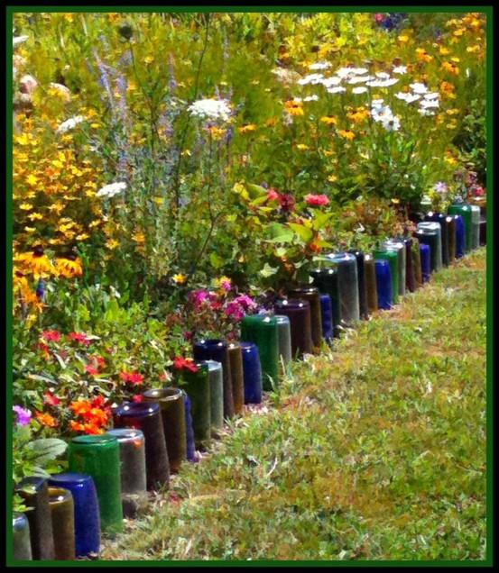 bottle edging for a flower border