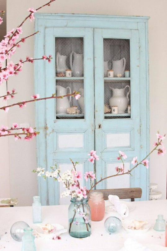 blue and white cupboard