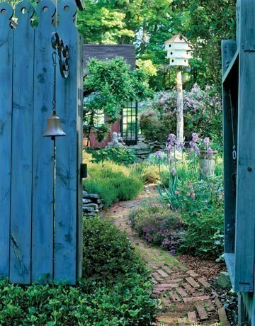 blue painted garden gate