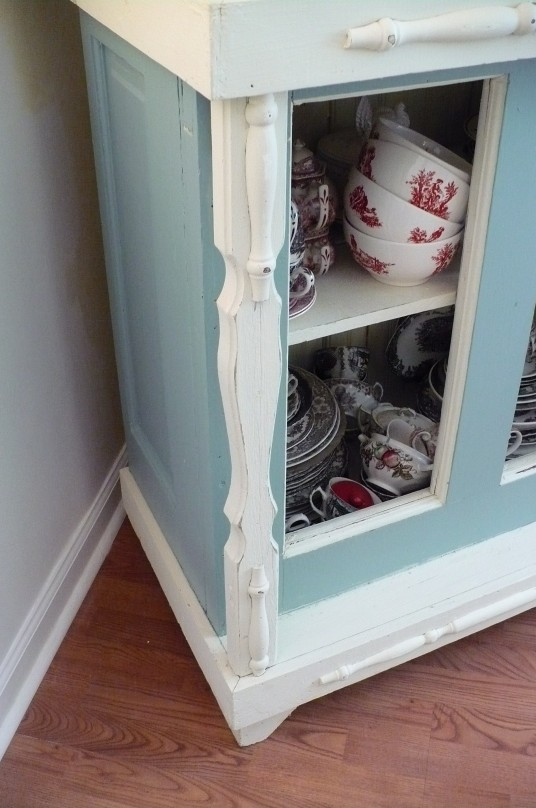 architectural piece on cabinet
