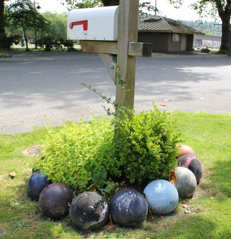 bowling ball garden edging
