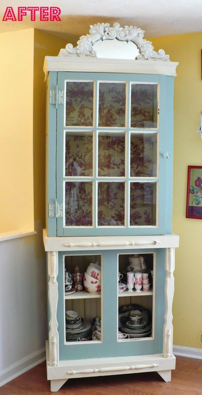 Painted china cabinet - Sherwin Williams Halcyon Green