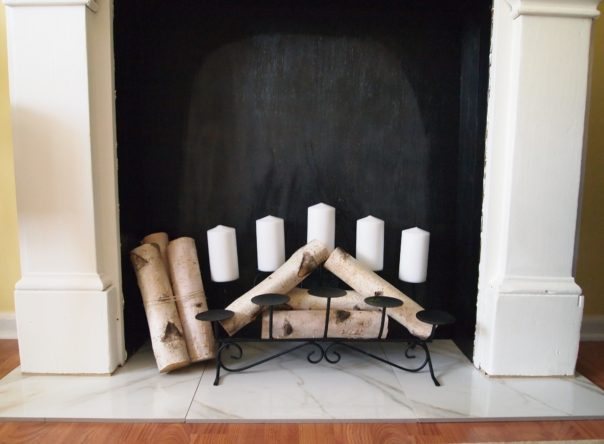 candles in faux fireplace
