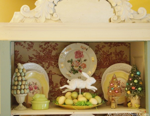 Easter Decorations in China Cabinet