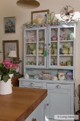 light blue china cabinet