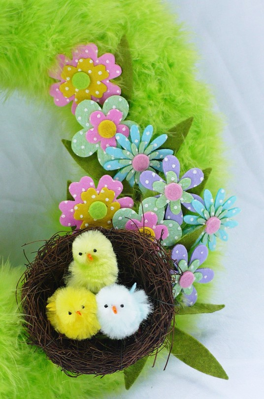 nest with easter chicks