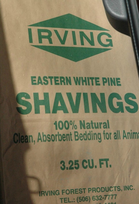 bag of pine shavings for chickens