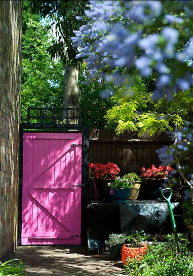 garden gate painted pink