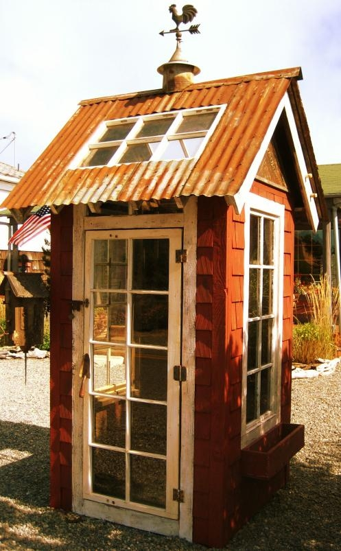 garden shed with tin roof