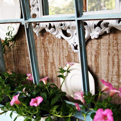 window box with petunias