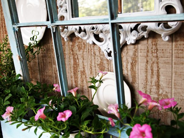 window box with petunias