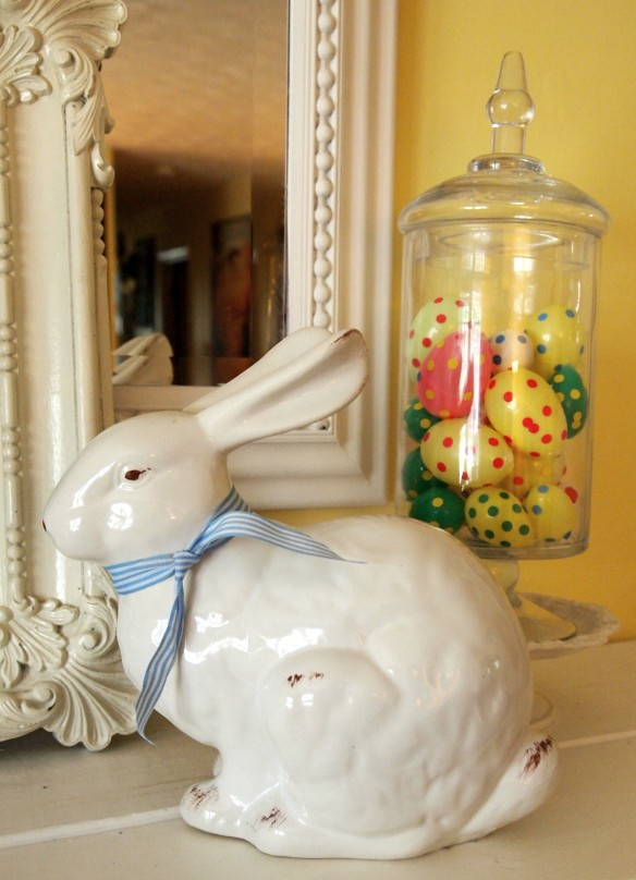 bunny and decorated Easter eggs
