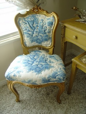 blue toile chair