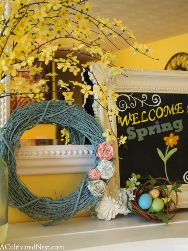 spring wreath the rolled fabric flowers