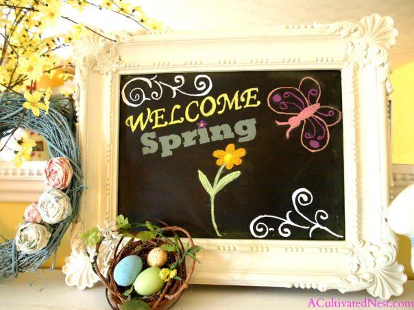 chalkboard in vintage frame