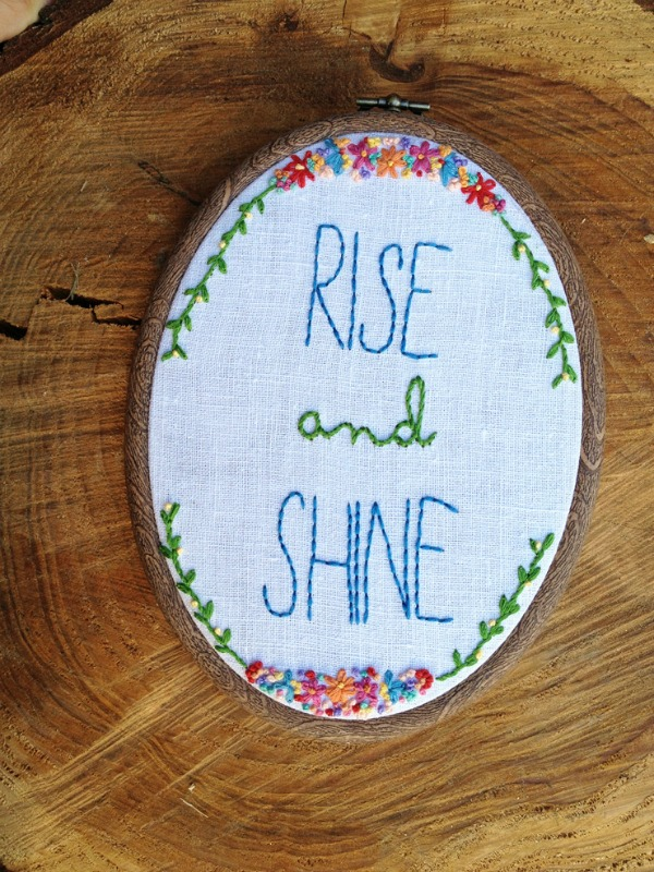 embroidery hoop wall art from Take the Cannoli