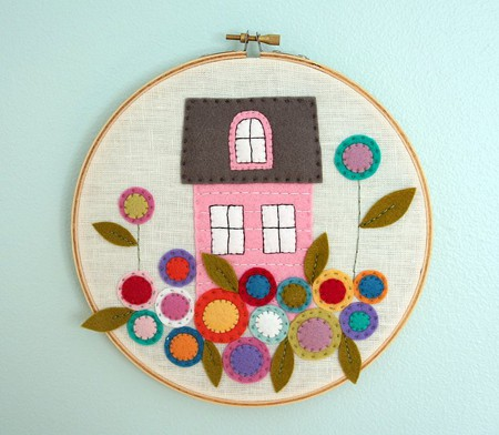 wool felt applique hoop art