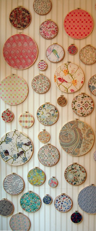 embroidery hoop wall art - purl bee hoop art wall