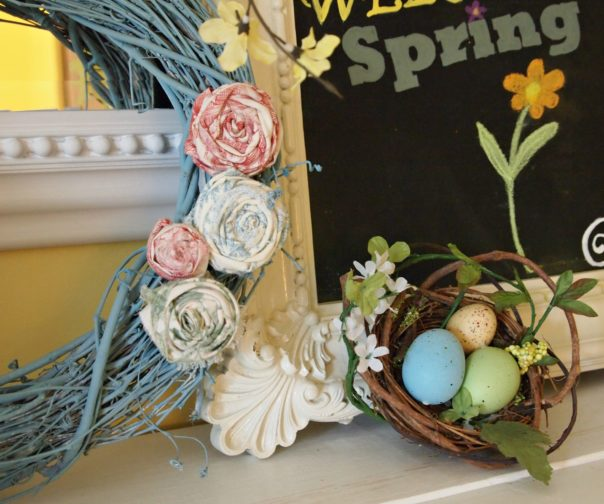 rolled fabric flowers on a spring wreath