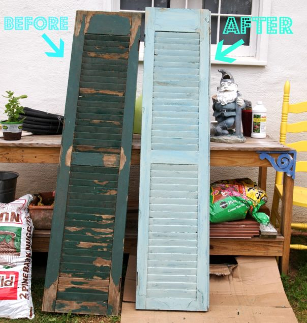 robin's egg blue wood shutters