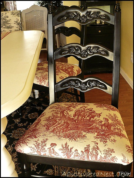 red toile dining room chair