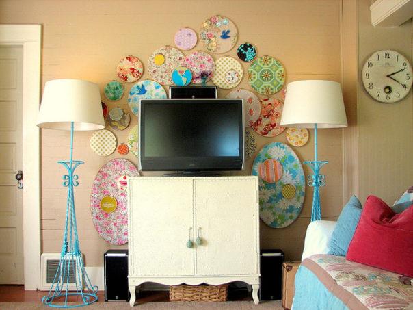 embroidery hoop wall art - trisha brink swatch wall