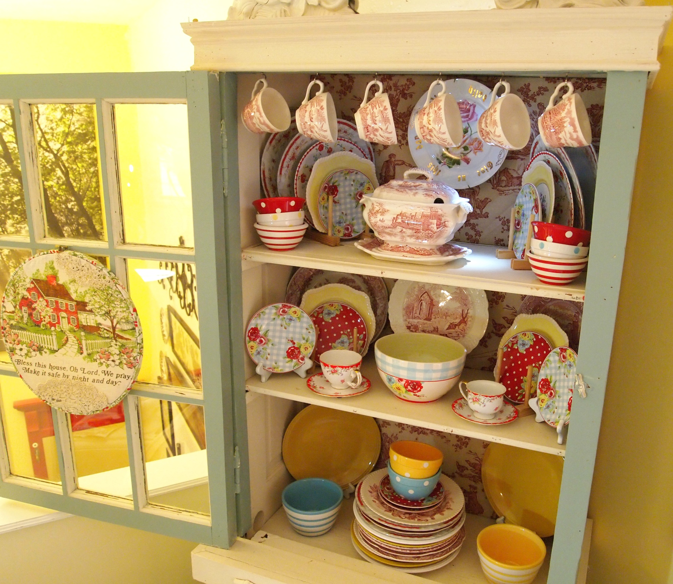 China Cabinet Re-do & Hoop Art - A Cultivated Nest