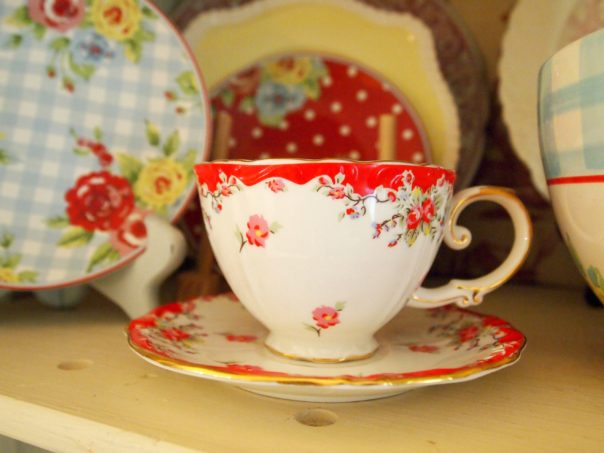 red vintage rose tea cup