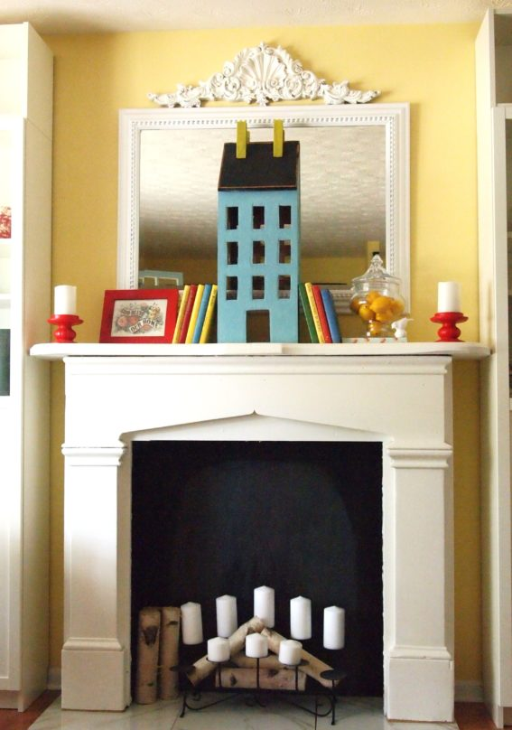 decorated faux fireplace