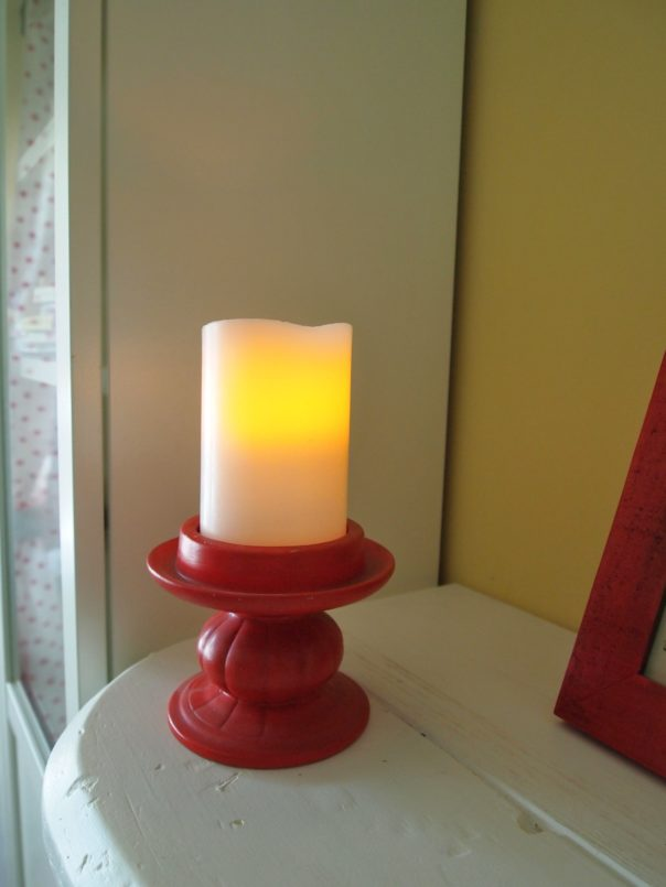 flameless candle & red candlestick
