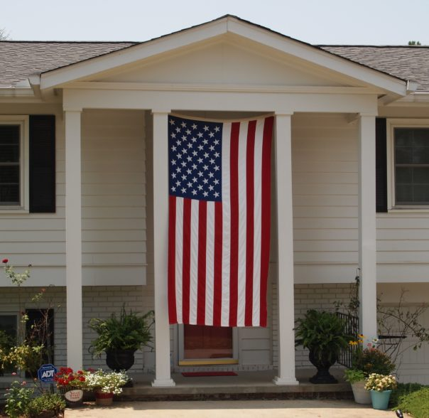 flag on front of house