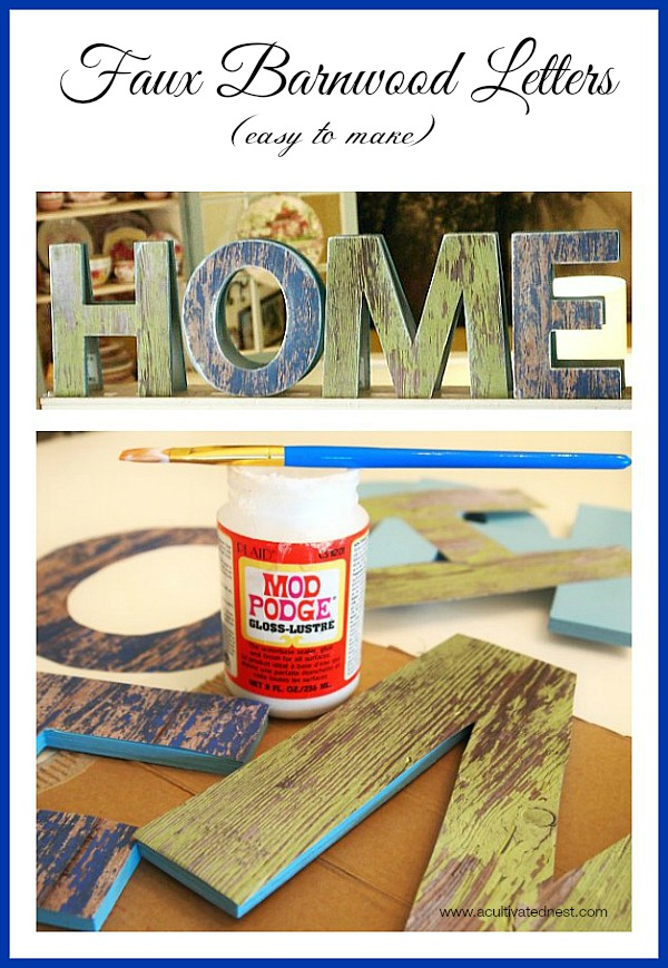 Easy to make faux barnwood letters