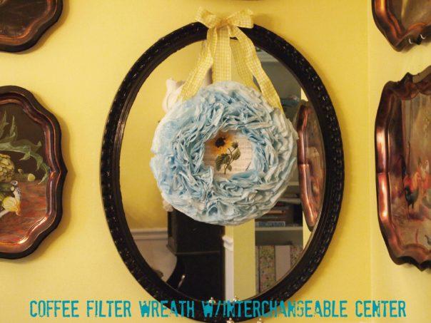 aqua coffee filter wreath