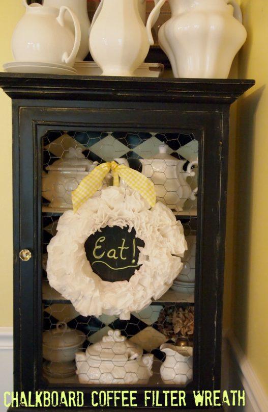 Chalkboard Coffee Filter Wreath