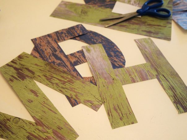 letters cut from scrapbook paper