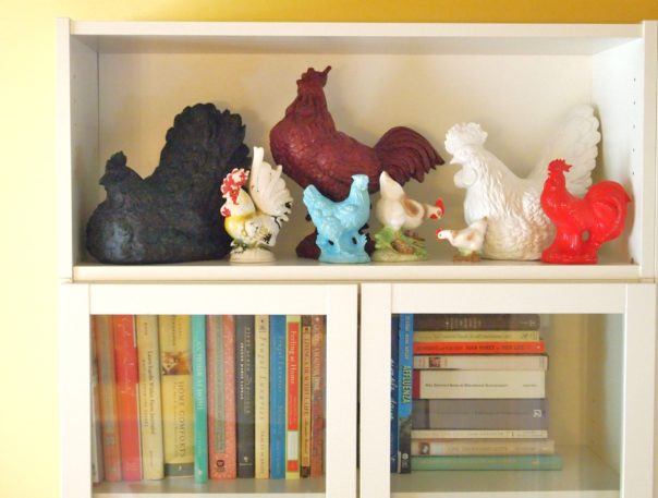 displaying roosters