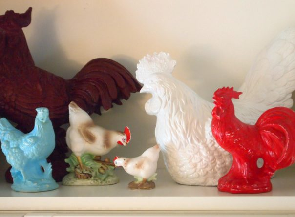 red & aqua roosters