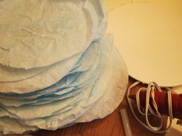 stack of dyed coffee filters