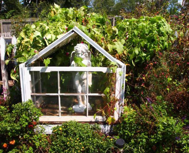 a garden conservatory made from old windows