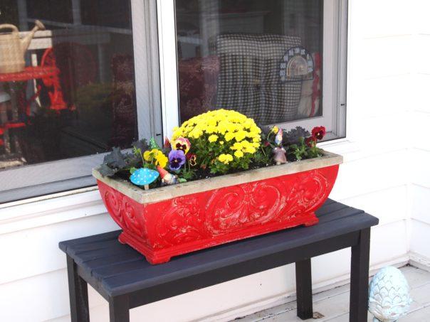 red concrete planter