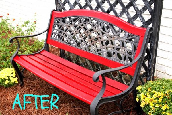 red garden bench