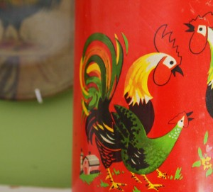 Vintage Red Tin With Roosters