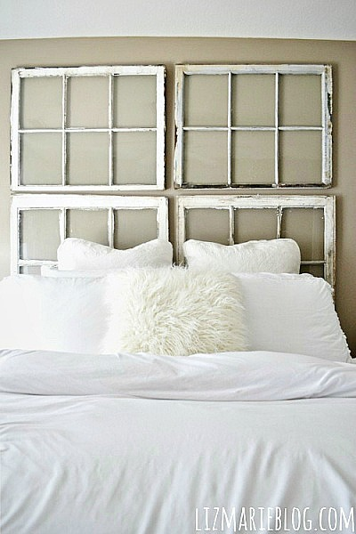 ways to use old windows -  make a headboard with 4 old windows