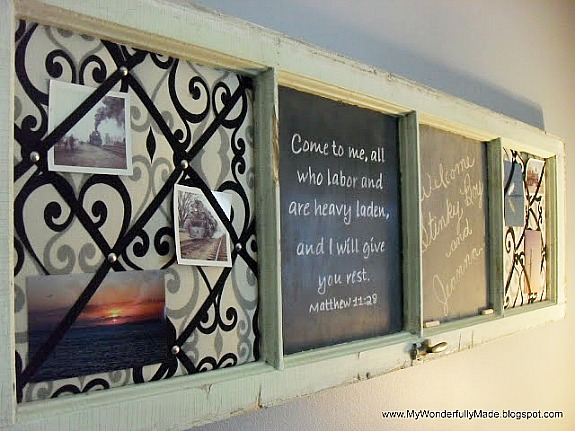 window upcycled into a chalkboard/memo board