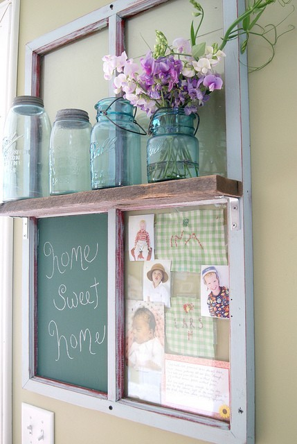 upcycled window into shelf