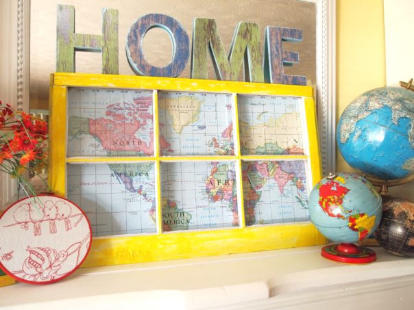 upcycled  window with map