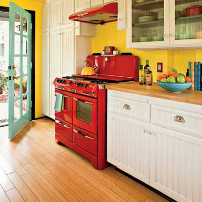red stove in cottage kitchen