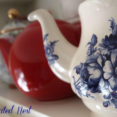 blue flowered teapot