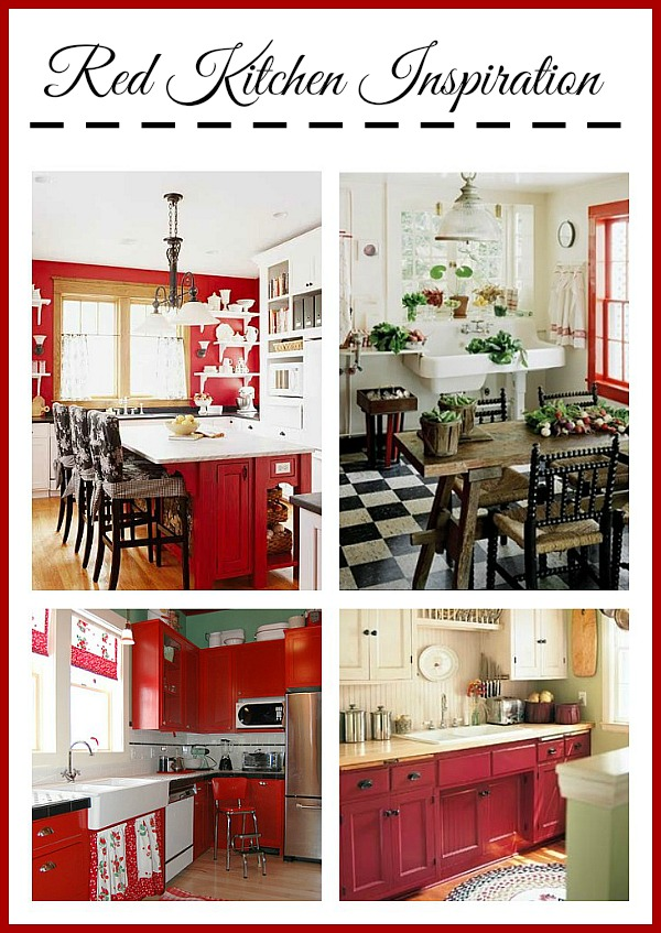 So pretty! Red cottage  kitchen design inspirations!