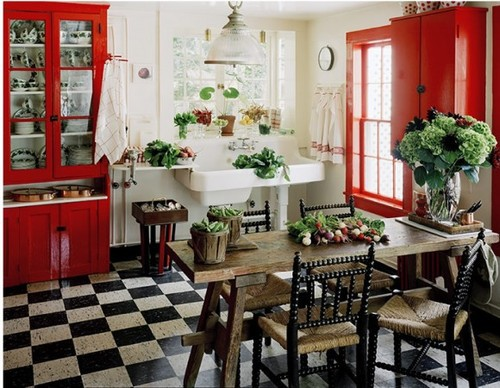 white red black cottage kitchen ideas